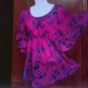 Forever 21 Top M/L silky pink purple Angel Sleeve